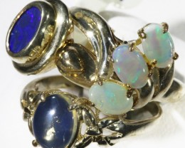 Three Nice  Opal   Solid set in Silver Rings CF1705