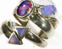 Three Cute Opal   Mix set in Silver Rings CF1706