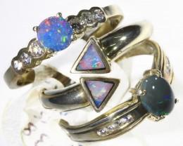 Three Cute Opal   Mix set in Silver Ringssize 7 CF1707