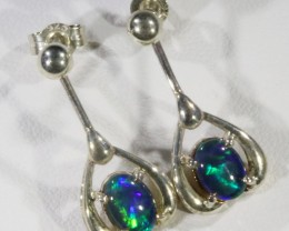 Triplet Opal set in silver Earrings  CF1717