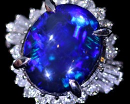 BLACK LIGHTNING RIDGE OPAL SET IN PLATINUM RING