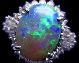 NR - CRYSTAL LIGHTNING RIDGE OPAL WITH DIAMONDS SET IN PLATINUM RI