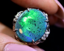 HUGE! BLACK OPAL SET IN PLATINUM RING