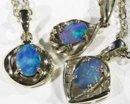 Three Cute Opal  Doublet set in Silver Pendants CF1725