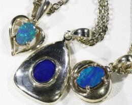 Three Cute Opal  Doublet set in Silver Pendants CF1726