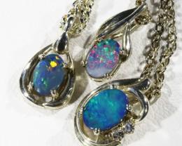 Three Cute Opal  Doublet set in Silver Pendants CF1727