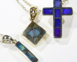 Three lovely Opal  Inlay set in Silver Pendants CF1730