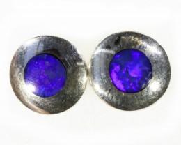 Lovely Earrings Inlay Opal set in Silver Earrings CF1741