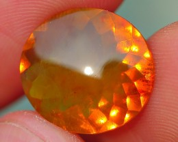 4.40 CRT VERY NICE FACETED CLEAR BROWN ORANGE BASE INDONESIAN FIRE OPAL