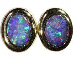 5.90 CTS 9K GOLD DOUBLET OPAL EARRINGS FROM LIGHTNING RIDGE [SOJ6108]