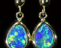 5.90 CTS 9K GOLD DOUBLET OPAL EARRINGS FROM LIGHTNING RIDGE [SOJ6110]