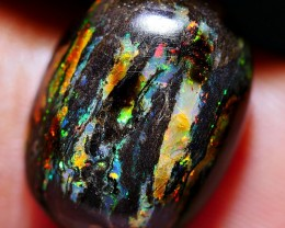 4.10 CRT STUNNING DELUXE METTALIC MULTICOLOR WOOD FOSSIL INDONESIAN OPAL