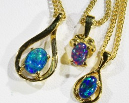 Three lovely Opal  Tiplets set in  G/P Silver Pendants CF1763