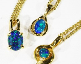 Three lovely Opal  Tiplets set in  G/P Silver Pendants CF1764
