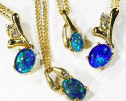 Xmas Four lovely Opal  Tiplets set in  G/P Silver Pendants CF1766