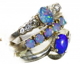 Three lovely Opal Doublets set in   Silver RingsCF1767