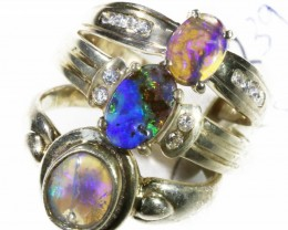 Three lovely Opal Solid set in   Silver Rings CF1769