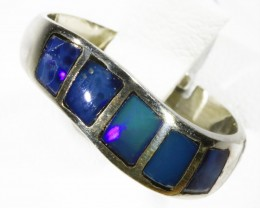 Lovely  Inlay Opal set in Silver Ring Adjustable CF1773
