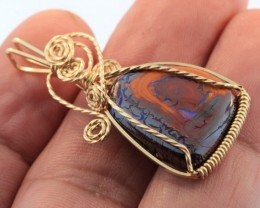 15CT~ELEGANT 14K PENDANT~WIRE WRAPPED KOROIT OPAL