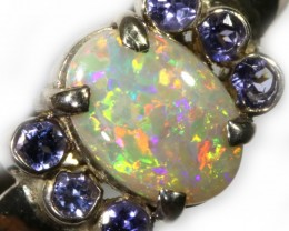 8.5 SIZE STUNNING SOLID OPAL WITH 6 TANZANITES [SOJ5444]