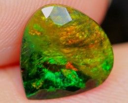 No Reserve~  1.19cts Reddish Green Flash Ethiopian Welo Smoked Faceted Opal