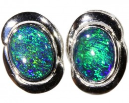 4.00 CTS GEM TRIPLET OPAL EARRINGS [SOJ6153]SH