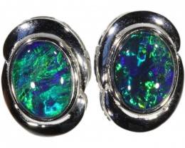 4.00 CTS GEM TRIPLET OPAL EARRINGS [SOJ6155]SH-9