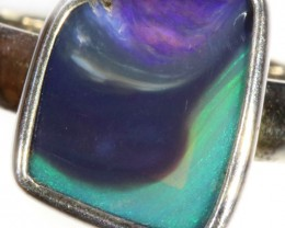 21.40 CTS SOLID BLACK OPAL RING SET IN SILVER SOJ6131