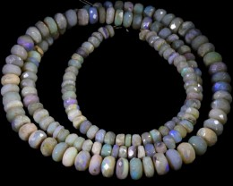 80.00 CTS FACETED OPAL BEAD STRAND -LIGHTNING RIDGE  N5-N6 [SO9839] SAFE S