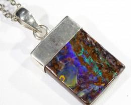 Modern design Opal Boulder set in Silver Pendant CF1785