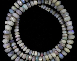 80.35 CTS FACETED OPAL BEAD STRAND -LIGHTNING RIDGE  N5-N6 [SO9847] SAFE SH