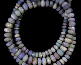 79.25 CTS FACETED OPAL BEAD STRAND -LIGHTNING RIDGE  N5-N6 [SO9850] SAFE SH