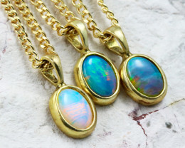 Three Solid Opal into Sterling Gold Plated pendants CF1789