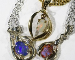 Three Mix Opal into Sterling Silver pendant CF1792