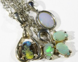 Three Solid Opal   into Sterling Silver pendant CF1793