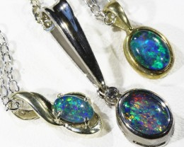 Three Triplet Opal into Sterling Silver pendant CF1796