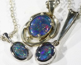 Three Triplet Opal   into Sterling Silver pendant CF1797