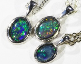Three Triplet Opal   into Sterling Silver pendant CF1802