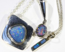 Three Mix Opal into Sterling Silver pendant CF1809