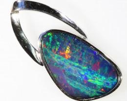 Gem Doublet Opal set into Modern  Sterling Silver pendant CF1819