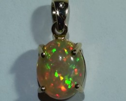 Gold Pendant 14k Natural Gem Rainbow Color Welo Opal 10.95 ct