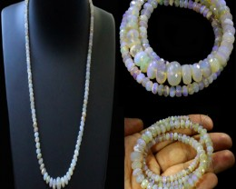 93.25 CTS FACETED  CRYSTAL OPAL BEAD STRAND -LIGHTNING RIDGE N7 [SO9910] SA