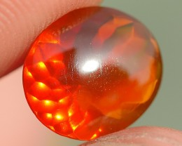 1.35 CRT FIRE OPAL BEAUTY CLEAR FACETED BROWN ORANGE INDONESIAN OPAL