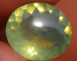 1.90 CRT FIRE OPAL GREEN LIGHT FACETED NICE COLOR INDONESIAN OPAL