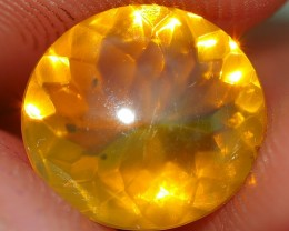 1.25 CRT FIRE OPAL DELUXE YELLOWISH COLOR FACETED INDONESIAN OPAL
