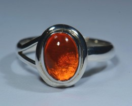 6.5.Sz Natural Mexican Opal .925 Sterling Silver Ring Taxco
