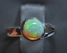 5.5 Sz Natural Ethiopian Welo Opal .925 Sterling Silver Ring Taxco