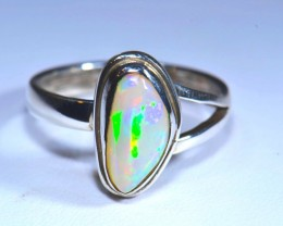 6Sz Natural Ethiopian Welo Opal .925 Sterling Silver Ring Taxco