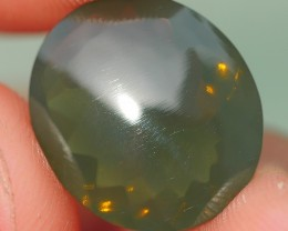 4.05 CRT FIRE OPAL FACETED NICE GREENISH COLOR INDONESIAN OPAL