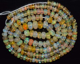34.75 Ct Natural Ethiopian Welo Opal Beads Play Of Color